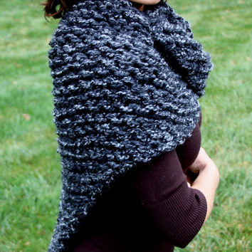 Hand Knit Outlander Inspired Claire's Shawl Wrap Shoulder Warmer in Charcoal Gray, Chunky Knit