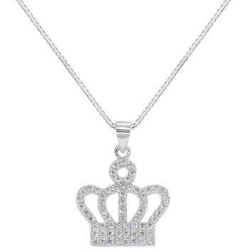 925 Sterling Silver Clear CZ Princess Crown Pendant Necklace Girls 16""