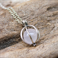 Rose Quartz Necklace, Crystal Ball Necklace, Rose Quartz Sphere, Boho Jewelry, Wiccan Necklace, Bohemian Jewelry, Natural Stone Jewelry