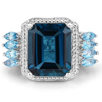 Natural 8.5CT Emerald Cut Peacock Blue London Topaz Aquamarine Ring