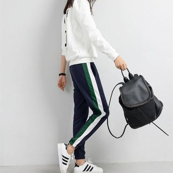 DCCKL3Z 2017 Women Spring Sweatpants Size Casual Harem Pants White Striped Side Loose Trousers Long Sweat Pants