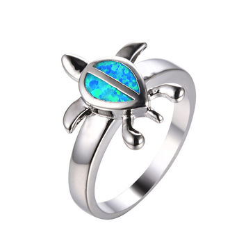 Cute Turtle Blue Fire Opal Sterling Silver Animal Rings for Women Wedding Jewelry White Gold Filled