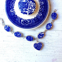 Broken China Jewelry-Willow Pattern-Willow Ware-Blue and White China-Sterling Silver Bracelet-Heart Jewelry