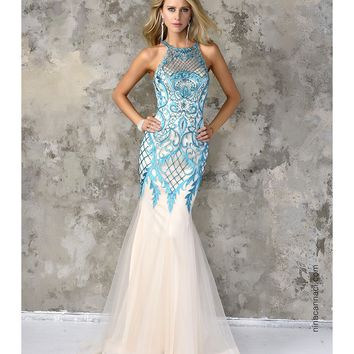 Nina Canacci 4101 Ivory & Mint Mermaid Lace Long Dress 2016 Prom Dresses