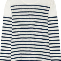 Current/Elliott - + Charlotte Gainsbourg The Long Sleeve striped slub linen top