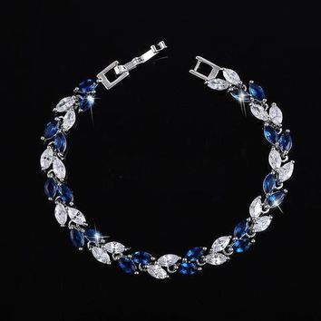 Blue Crystal Leaves Police Bracelet