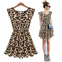 Etosell Sexy Lady CrewNeck Leopard Gown Party Skater Swing Tunic Dress Sundress