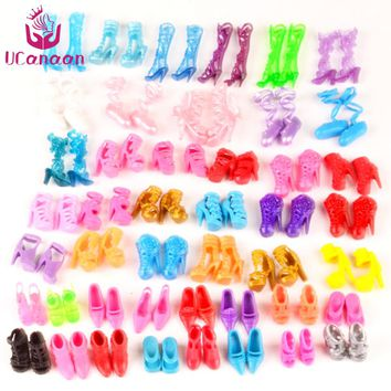 UCanaan 60 Pairs Shoes Fashion Doll Shoes Heels Sandals for Barbie Dolls Outfit Dress Best Gift for Little Girl