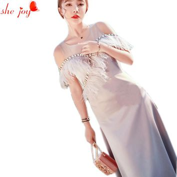 Elegant Long Sexy Off Shoulder Dress for Women Beading Feather Maxi Dresses Female Summer Party Robe Quality Clothes Woman