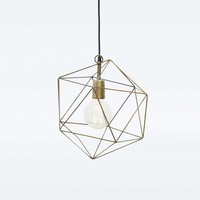 Geometric Brass Lamp Pendant - Urban Outfitters