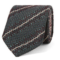 Dries Van Noten - 8cm Striped Virgin Wool, Silk and Linen-Blend Tie