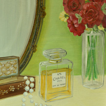 Original Oil Painting,Chanel No 5,Still Life Painting,Home Decor,Perfume,Chanel,Red Rose,Pearls,Wall Art,Vanity,Classic,Canvas Painting,9x12