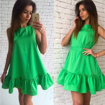 VONE05W5 2XL Hot 2017 New Ruffles Beach Women Dress Summer Sleeveless Casual A Line Bodycon Party Dresses Ladies Mini Sexy Dress Vestidos