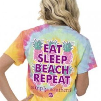 Simply Southern Eat Sleep Beach Repeat Tee- Yellow