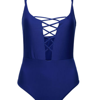 Blue Cross Strap Front One-piece Swimsuit