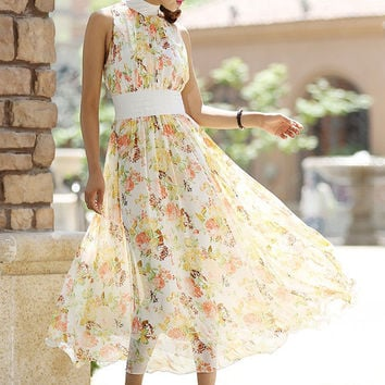 floral chiffon dress - women long dress with white collar and waist  - custom made(998)
