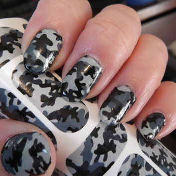Free Shipping - GREY CAMO Nail Art Decals (CM1) Camouflage Full Nail Decoration Long and Short Nails Transparent Colors Waterslide Stickers
