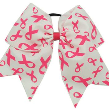 Big Cheer Bow Elastic Band Pink Breast Cancer Hair Bow