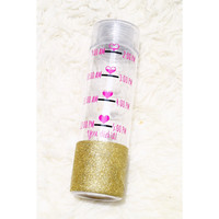 Water Intake Tracker // Water Bottle //Personalized Water Bottle // Glitter Dipped Water Bottle // Plastic Water Bottle