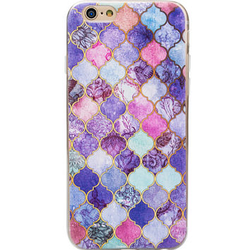 Purple Patchwork Marble iPhone 7 7plus & iPhone se 5s & iPhone6 6s Plus Case Cover + Gift Box
