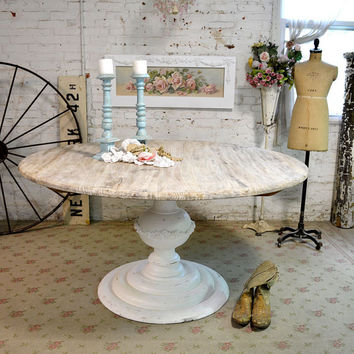 Painted Cottage Chic Shabby French Linen Round Dining Table TBL32