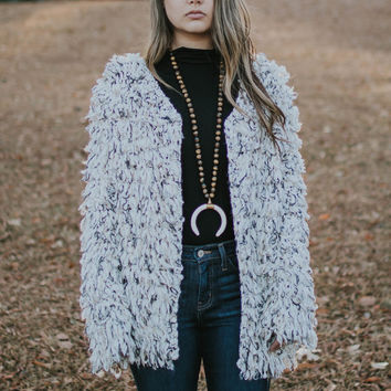 Multi Cream Fuzzy Jacket