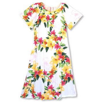 Rain White Hawaiian Rayon Tea Muumuu Dress