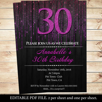 Hot pink and black 30th modern party invitations | Pink And Black Party Invitations | Modern invitation for adults | DIY Party Invitation