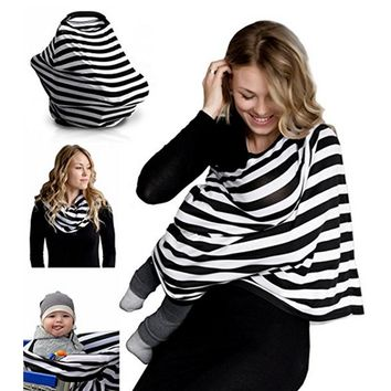 Nursing Breastfeeding Cover Scarf - Baby Car Seat Canopy, Shopping Cart, Stroller, Carseat Covers for Girls and Boys - Best Mult