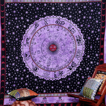 Astrology Zodiac Indian Tapestry, Hippie Decor Bedspread, Indian Wall Hanging, Bohemian Tapestry, Indian ASTROLOGY Tapestry, Wall Decor