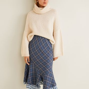 Checkered asymmetric skirt - Women | MANGO United Kingdom