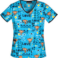 Playful Monkey Print Scrub Top For Women