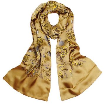 Golden Dragon Animals Scarf 100% satin silk Shawls for Men Fashion Male Print Floral Wine Red Silk Scarves and pashminas Wrap