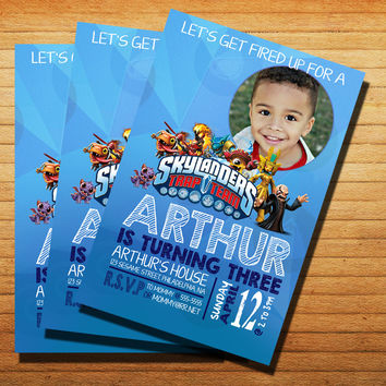 Blue Sky Skylanders Birthday Invitation Cards 4x6, 5x7, Customized