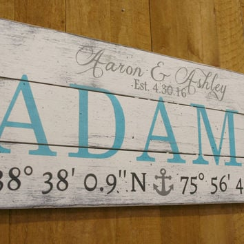 Coordinate Pallet Sign Beach Wedding Destination Wedding Nautical Decor Wedding Gift Bridal Shower Gift Distressed Wood Handpainted Handmade