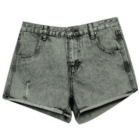 ROMWE | Retro Shredded Grey Denim Shorts, The Latest Street Fashion