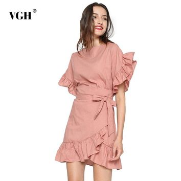 VGH Irregular Petal Sleeve Summer shirt Women Slim Lace With Tunic Slim Hem Ruffles 2018 blouses Female Clothes Vestidos
