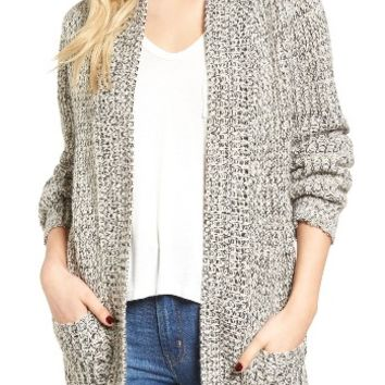 Cotton Emporium Marled Knit Open Cardigan | Nordstrom