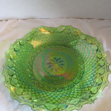 Indiana Glass Iridescent Green Carnival hostess ruffled edge vintage 1970s