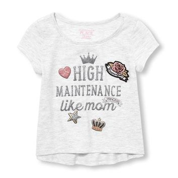 Baby And Toddler Girls Short Sleeve Embellished Glitter Top