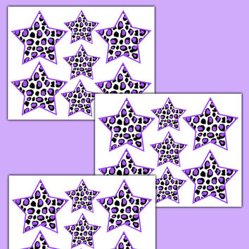 PURPLE LEOPARD STAR Wall Decals Teen Girl Safari Animal Print Room Kids Bedroom Baby Nursery Childrens Art Stickers Geometric Jungle Decor