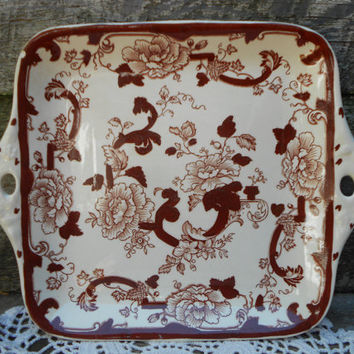 Masons RARE Brown Velvet  Pattern Square Cake Plate - WEDDING PLATE - Transferware Ironstone - English Transferware - Brown - Transferware
