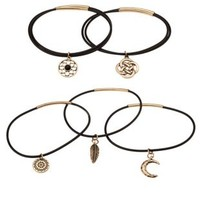 Black Rubber & Metal Charm Bracelets - 7 Pack by Charlotte Russe