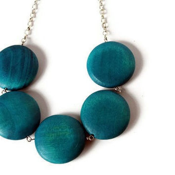 CIJ Sale 15% OFF Teal Round Chunky Bead Necklace. Big Round Blue Wood Beads.