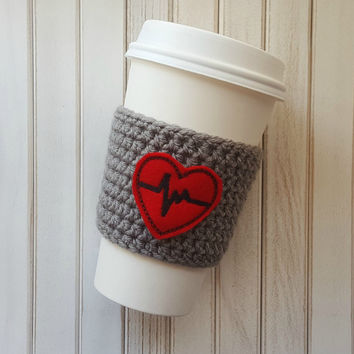 Crochet Coffee Cozy, Valentine's Day Gift, EKG Heart Coffee Cozy, Nurse Gift, Gift Idea for Her, Coffee Sleeve, Heart Cozy, Crochet Sleeve