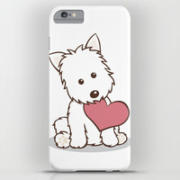 Westie Dog with Love Illustration iPhone & iPod Case by Li Kim Goh