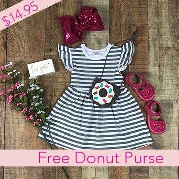 BLOW OUT! RTS Dresses For Girls Cute Striped Summer Dress *Free Donut Purse D7