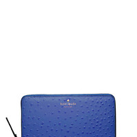 Kate Spade Riverside Street Ostrich Zip Travel Wallet Lake Blue ONE