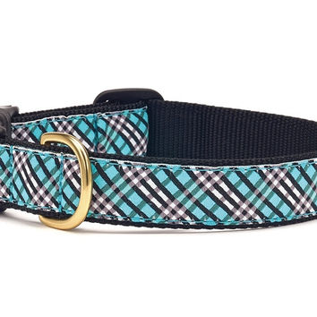 Up Country Aqua Plaid Dog Collar