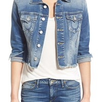 True Religion Brand Jeans 'Dari' Raw Edge Crop Denim Jacket | Nordstrom